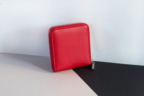 'MONDAY' ITALY COW LEATHER SHORT WALLET-RED