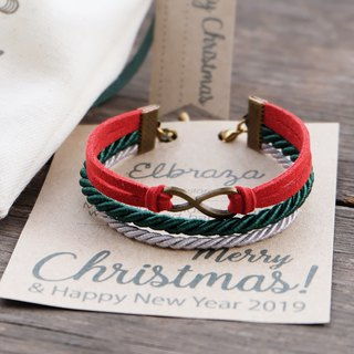 Brass infinity in Red suede Dark green Light gray rope - Christmas bracelet