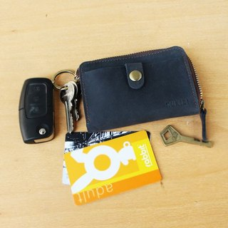Key Case - F1 สีน้ำเงิน / Key Holder / Key Ring / Key Bag (Genuine Cow Leather)