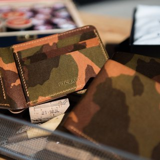 Short wallet camouflage leather
