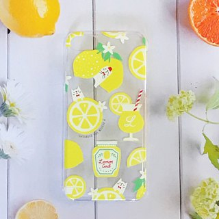 Lemon and white cat iPhone transparent smart case 【Custom order】