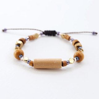 Brown wooden beads string bracelet with brass materials and purple seed beads