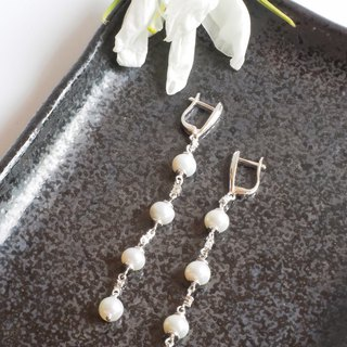 Long Dangle Pearl Earring
