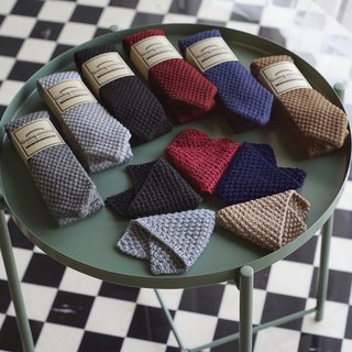 Knitted Wool Tie with pocket square set with Crafted box - Choose Color