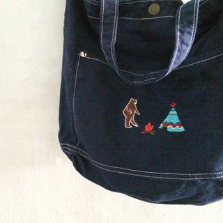 Camping with a Bear Embroidery - Canvas Crossbody Bag: Dark Blue