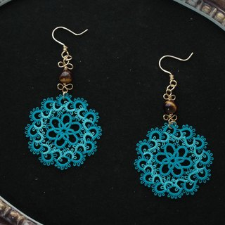Tatting lace and tiger eye piercing · ocean field