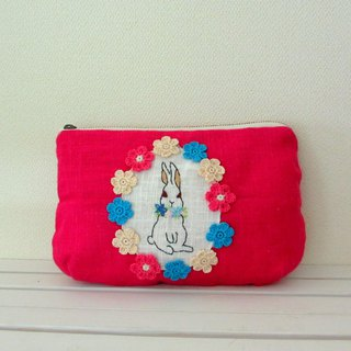 Flower and rabbit linen pouch Rose pink