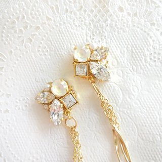 Crystal and wave tassel earrings, earrings