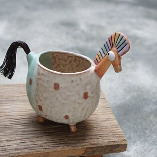 Horse, pencil holder, vase , Handmade ceramic