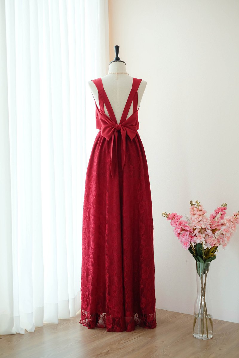 Red dress Lace dress Bridesmaid dress Prom Cocktail Party Wedding Dress