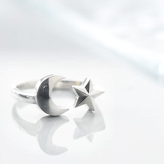 Crescent Moon Star ring silver925