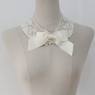 Ivory Ribbon detachable collar Lace pearl fake collar