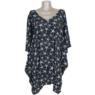 Starfish print butterfly sleeve dress <black>
