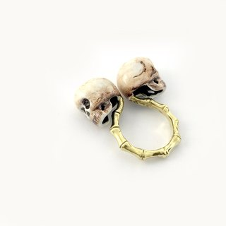 Zodiac Twins skull ring is for Gemini in Brass and Realistic color ,Rocker jewelry ,Skull jewelry,Biker jewelry