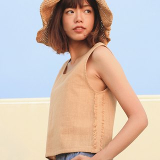 Brownish Sleeveless Top / Non-chemical cotton / Hand Woven