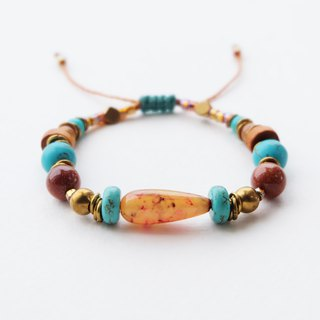 Mixed stone beads brass materials string bracelet in brown turquoise orange