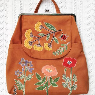 Japanese Flower Canvas Clutch Backpack