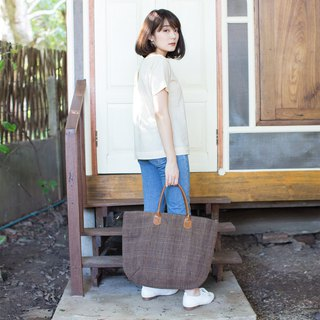 Oversize Sweet Journey Bags Handwoven and Botanical Dyed Cotton Brown-Blue Color