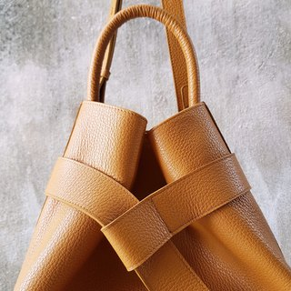 KANGAROO (Caramel) Leather Bucket Bag
