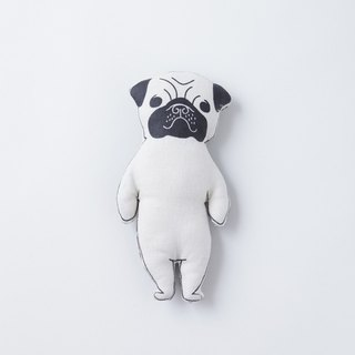 White Pug stuffed animal  pocket size