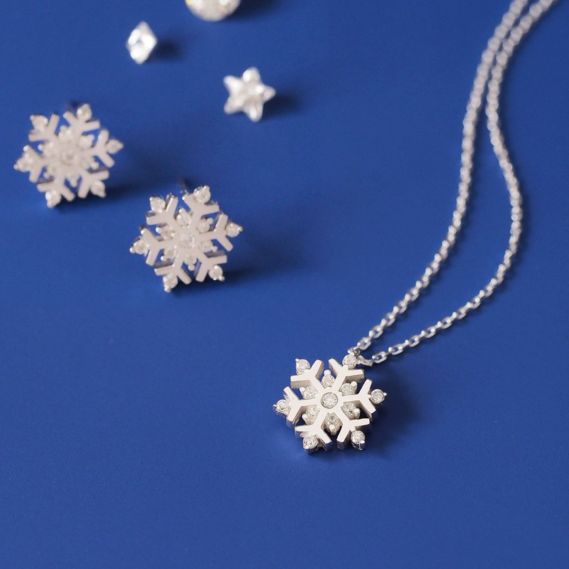 2 points set) Snow crystal necklace earrings limited set