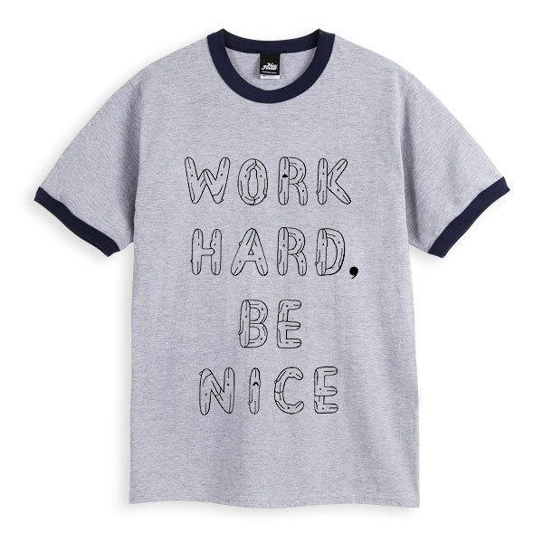 WORK HARD, BE NICE - 滚边麻灰藏青 - 中性版T恤
