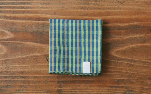 Linen cotton ahead dyed check handkerchief green × blue