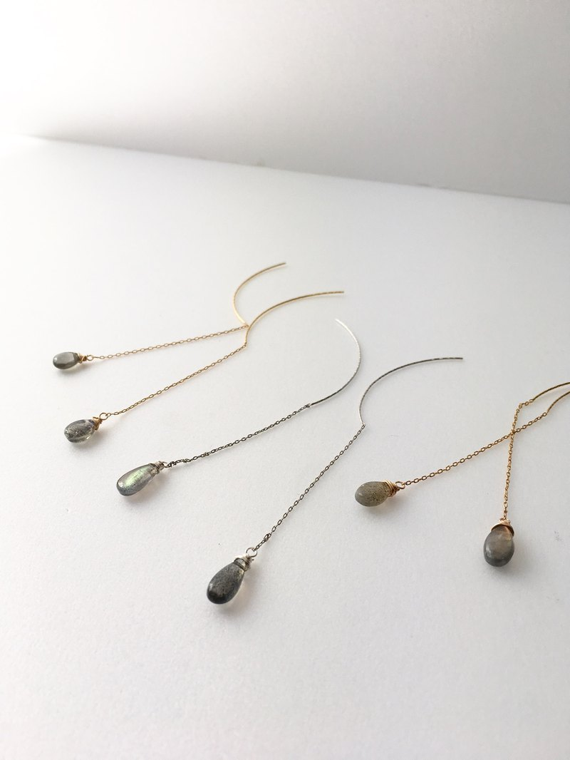 Small Labradorite Chain-earring and Clip-earring