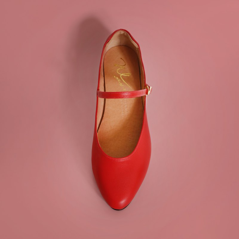 WL Mary Jane (红) Red Low Heels-Pinkoi专属