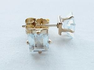 square light-bule Aquamarine earrings