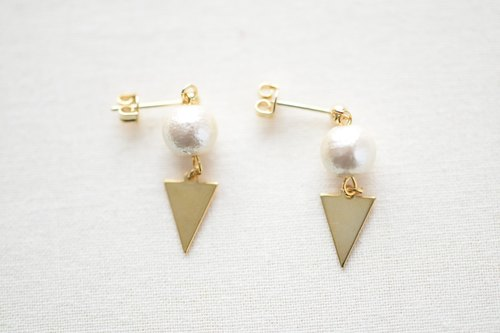 cotton pearl & triangle ①clip earrings②pierced earrings