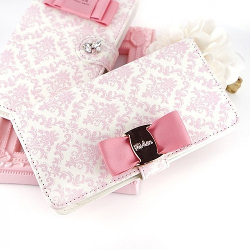 Big buckle with ribbon Damask with a notebook type smart case