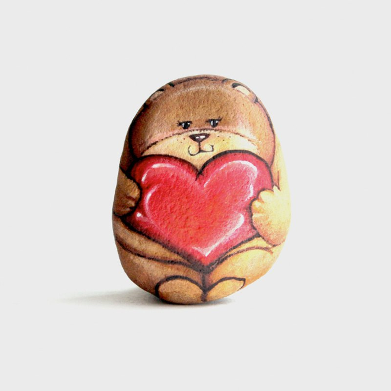 Bear with love stone painting.
