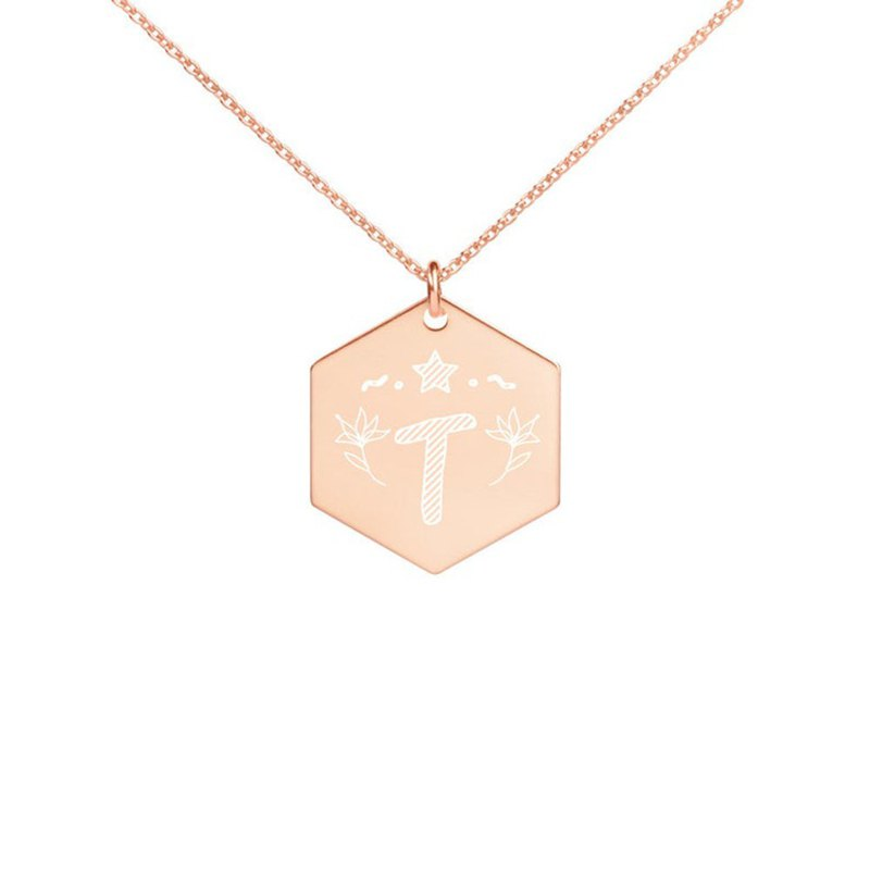 Letter T necklace Engraved Silver Hexagon Necklace