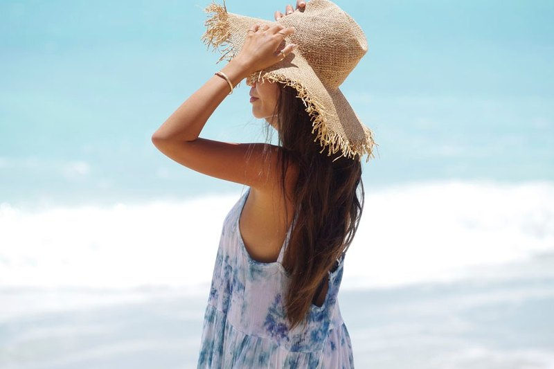 Uneven dyed beach dress ice blue