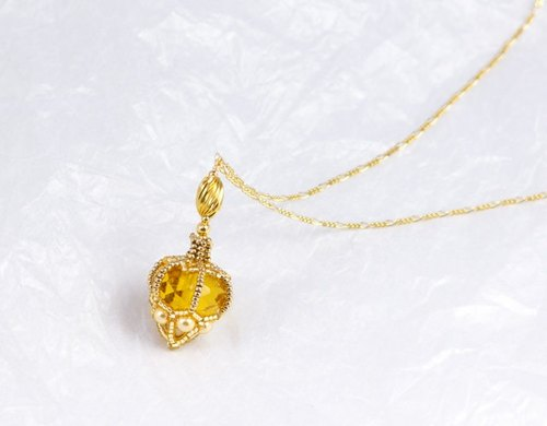 Topaz color perfume bottle shape necklace, beaded bottle pendant, yellow gold bag charm, 1503