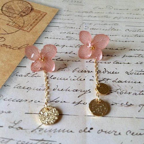 *Vintage pink*hydrangea and gold plate earrings