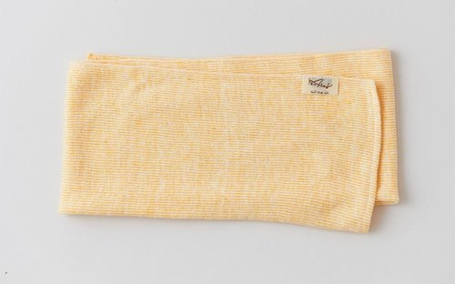 Linen Knit Stripe Face Towel Yellow × White