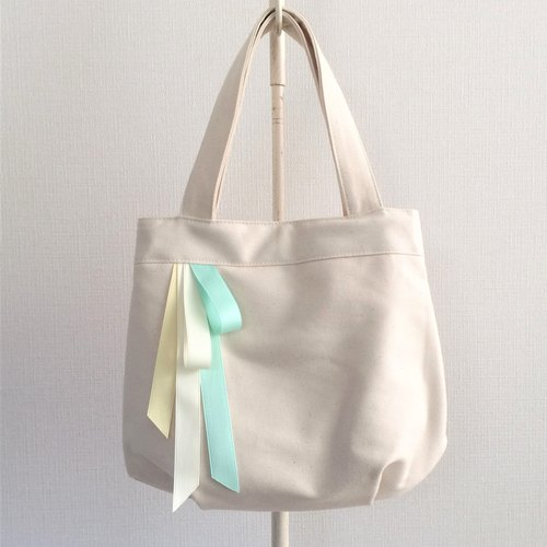Triple Candy Color Ribbon Round Tote Bag Generate Rint × Mint