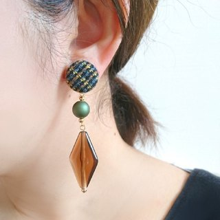 Walnut button and brown bead earrings, earrings