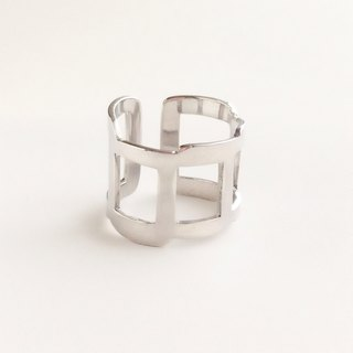 [Order production] ring / 950 silver rough square design <unisex> ※ 7-20 No.