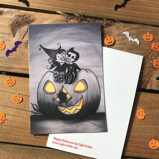 Happy Halloween black & white postcard