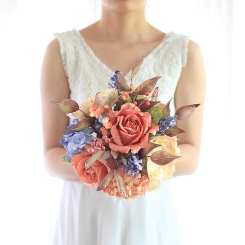 Vanilla Sky Bouquet Artificial Paper Flower Bridal Flower Bouquet with Wild Things