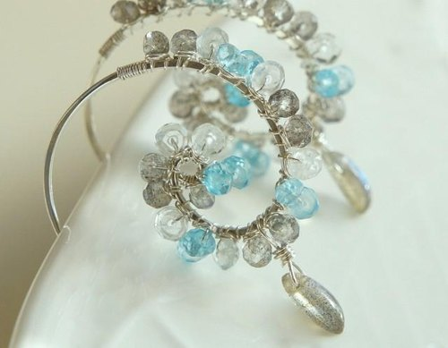 Labradorite and Topaz Hoop Earrings Silver