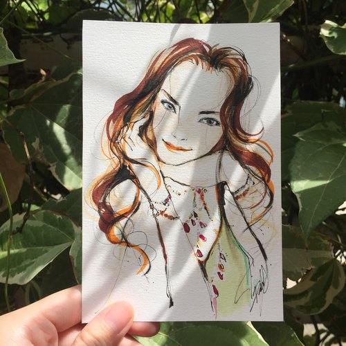 Summer Portrait illustration drawing 5x7 inches