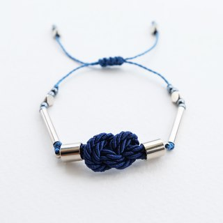 Infinity knot twisted rope in navy blue adjustable bracelet