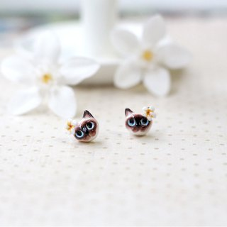 Siamese cat with Plumeria flower earrings, Cat stud earrings, cat lover gifts