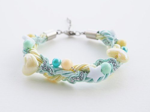 Mint & Light yellow bead-braided bracelet