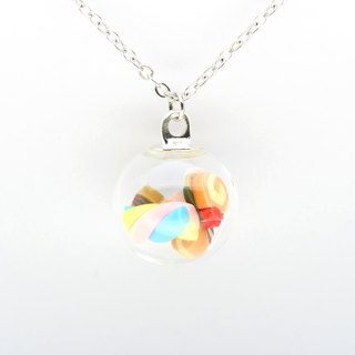 """爱家作-OMYWAY""DIY 手工制作 雪糕 冰淇淋 雪糕 甜品 童年 玻璃球 颈链 Glass Globe Necklace 1.4cm"