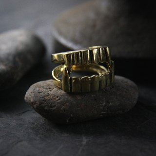 Vamprire Fang Ring by Defy / Unique design and handmade Jewelry / Adjustable Brass Ring.